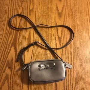 Coach silver double zip crossbody purse